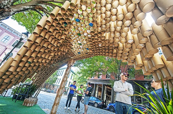 This year's runner-up, a joint installation by HKS Architects and DPR Construction, used recycled cardboard tubes to artistically invert the canopy.