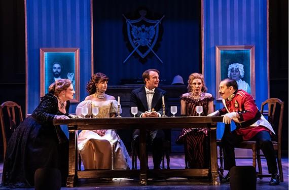 "Lauren Leinhaas-Cook, Adrienne Eller, Alexander Sapp, Grey Garrett and Scott Wichmann star in Virginia Repertory Theatre's ""A Gentleman's Guide to Love and Murder."""