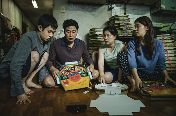 "The Kim Family (Woo-sik Choi, Kang-ho Song, Hye-jin Jang, So-dam Park) in ""Parasite."""