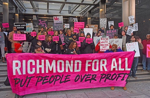 Activists gather in front of City Hall on Nov. 12 to protest Navy Hill. Many also rallied at the Richmond Redevelopment and Housing Authority headquarters in January.