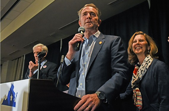At his party's election-night triumph Nov. 5 in Richmond, Gov. Ralph Northam, with his wife, Pam, at his side, declares that Virginia has turned blue.