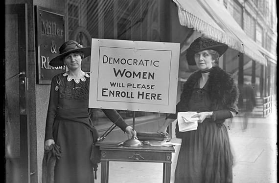 """Democratic Women Will Please Enroll Here,"" 1920"