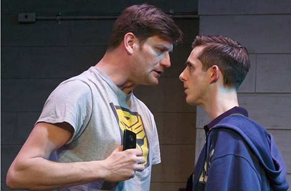 """Arik Cullen and Adam Valentine star in """"Stupid Kid,"""" directed by Alison Devereaux, which runs through Feb. 16 at the Firehouse."""