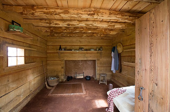 """A re-creation of Sally Hemings' quarters. Hemings was Thomas Jefferson's domestic maid and concubine whose story is told in the exhibit, """"Paradox of Liberty: Slavery at Jefferson's Monticello."""""""