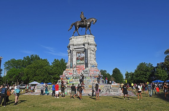 There was a festive atmosphere around the Robert E. Lee statue on Sunday, June 7, as people fired up barbecues and posed for photos.