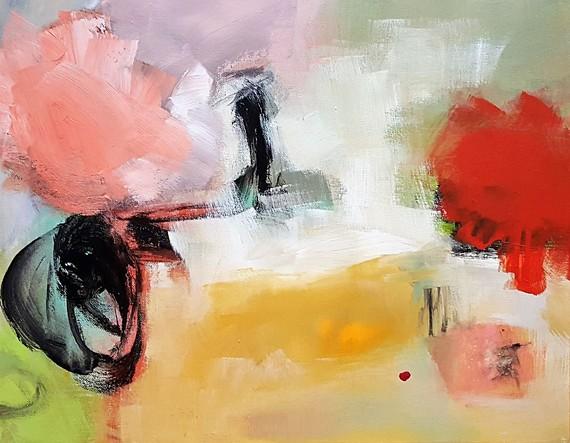 """""""Bursting"""" acrylic painting by Inge Strack"""