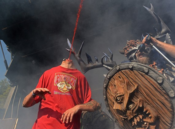Frontbeast Blothar belts one out at GWAR-BQ in his first performance with the band.