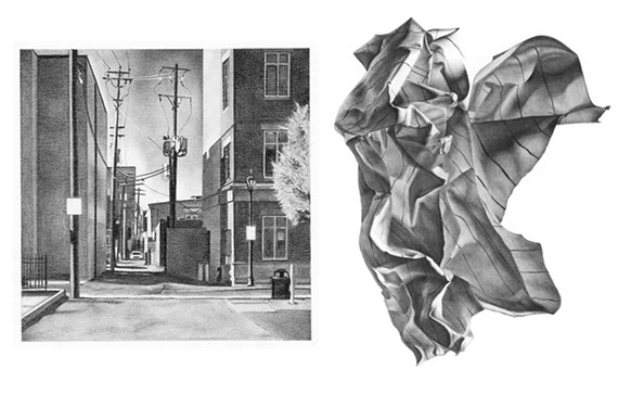 """""""City 1"""" (left) and """"Paper 2"""" are two graphite drawings by artist Sylvio Lynch III featured in """"Drawn Discovery,"""" his debut exhibition at the Reynolds Gallery."""