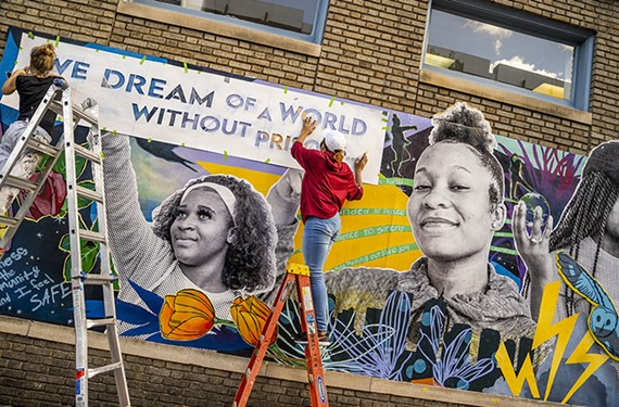 """The new interactive mural """"Freedom Constellations: Dreaming of a World Without Youth Prisons"""" uses augmented reality and cellphones to hear directly from young voices."""