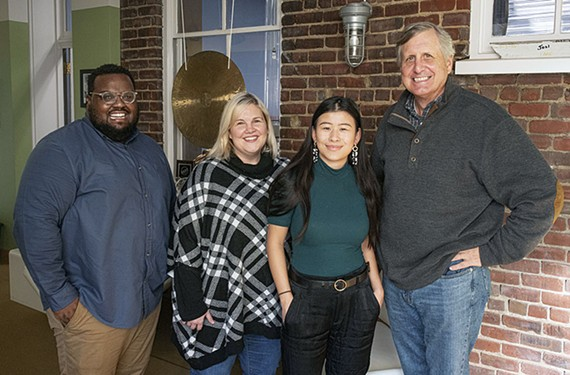 The Hodges Partnership's launch team for The Phil news site includes, from left, interns Anderson Hayes, Sara Huffman, Shayla Bailey and Hodges co-founder Josh Dare.