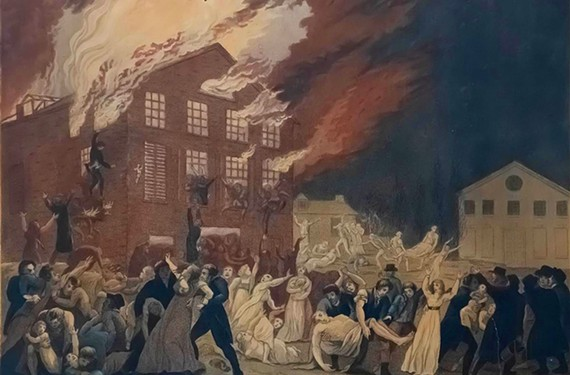 """The Burning of the Theatre in Richmond, Virginia, 1811"" Benjamin Tanner, American artist (1775-1848)"