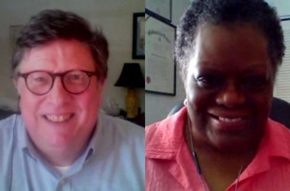 Richmonder Bucky Neal and Charlottesville-based Brenda Brown-Grooms were paired up for a 40-minute conversation because Brown-Grooms' ancestors were enslaved, and Neal's ancestors owned enslaved people.