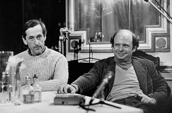 """André Gregory, at left, who plays himself, the sophisticated title character in """"My Dinner with André,"""" and his co-star and co-author, the more down-to-earth Wallace Shawn, donned ski wear under their clothing to stay warm during the Richmond filming in December1980."""