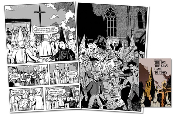 """The Day the Klan Came to Town,"" a graphic novel written by Bill Campbell and illustrated by local artist Bizhan Khodabandeh."