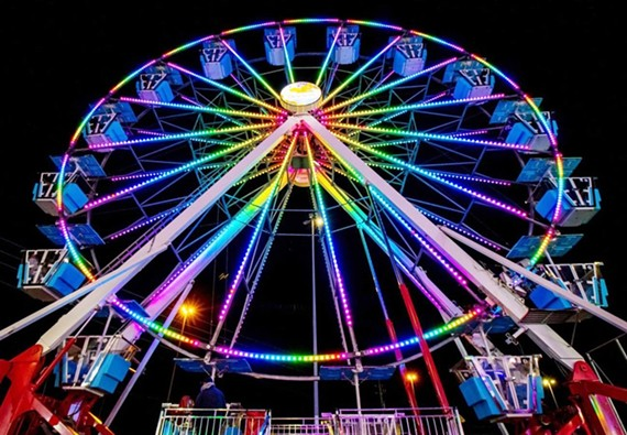 The 7-story Dream Wheel offers a breathtaking bird's-eye view of the midway and surrounding area.