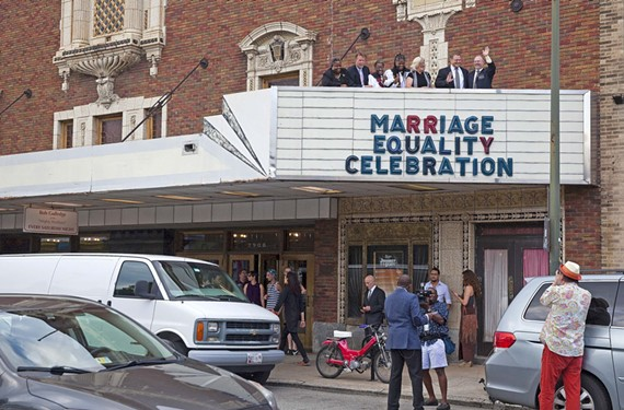 Last week's celebration at the Byrd Theatre included posing above the marquee: the Rev. Lacette Cross of Rosmy, Bill Harrison of Diversity Richmond, the Revs. Carolyn J. Mobley and Adrain Bowie of Metropolitan Community Church, Claire Guthrie Gastañaga of the ACLU of Virginia, Bary W. Hausrath of Richmond Business Alliance and Ashe Cordle of Virginia Pride.