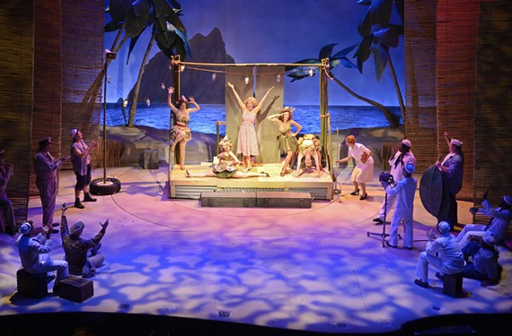 """During a tech rehearsal last week, actress Stacey Cabaj belts """"Honey Bun"""" with the help of her fellow nurses during the Thanksgiving Follies scene in """"South Pacific."""" The Rodgers and Hammerstein musical opened June 26 at the November Theatre. World War II veterans receive complimentary tickets."""