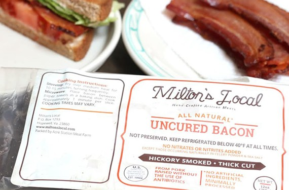 Milton's Local bacon is naturally cured and made from humanely raised pigs that are free of antibiotics, hormones and steroids.