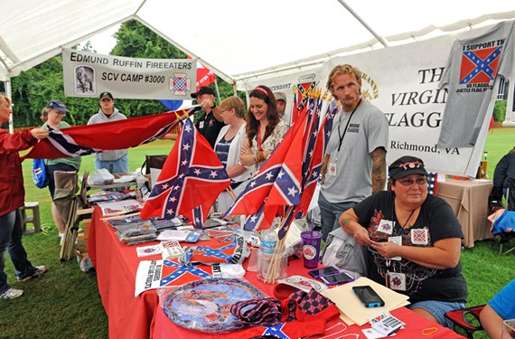 A camp of the Sons of Confederate Veterans, which holds a national convention in Richmond this week, was among the heritage groups promoting their views at the Hanover Tomato Festival.