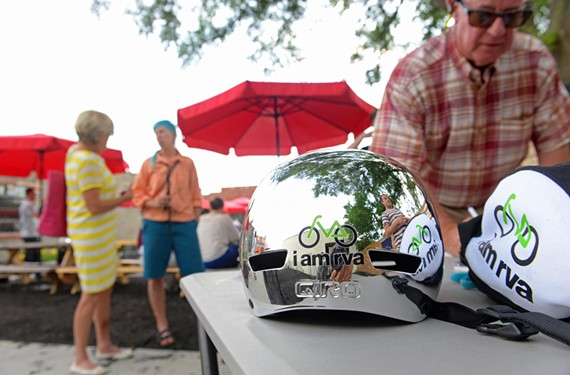 Shiny, chrome, bike helmets will go on sale to help charity.