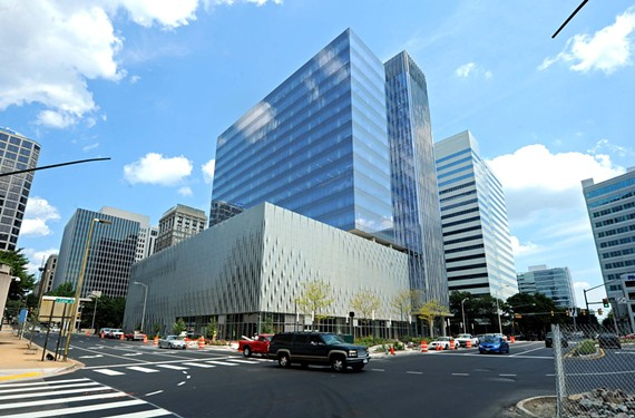The new high-rise at 800 E. Canal St. is a three-part cubist building of glass and metal.