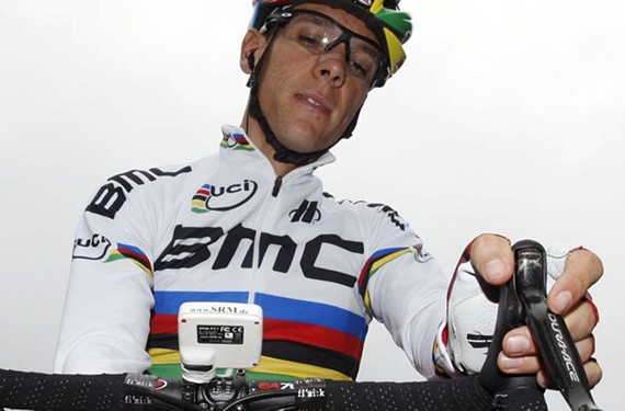 Wearing the rainbow: BMC Raging Team rider and 2012 UCI Road World Champion Philippe Gilbert of Belgium prepares at the start of the Tour of Lombardy in September 2012.