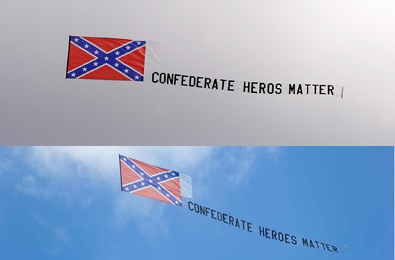 "Above: The banner as it flew above the cycling event. Below: The ""corrected"" version from the Virginia Flaggers website."
