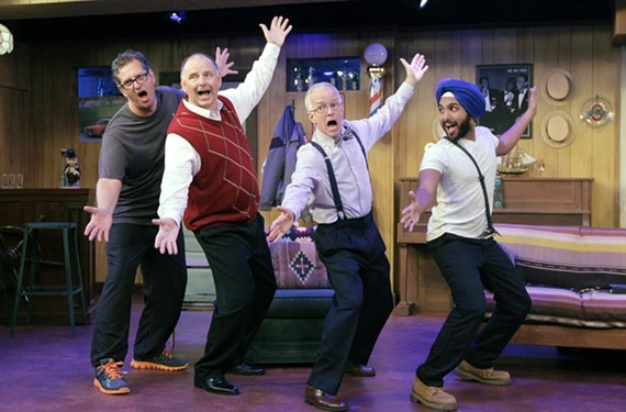 Actors Joe Pabst (Phil), Steven Boschen (Howard), Ford Flanagan (Wally) and Levin Valayil (Bob) confront racism through polished barbershop quartet in a light-hearted comedy.