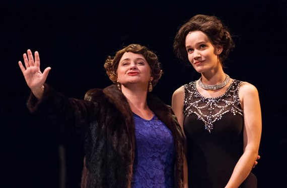 "The larger-than-life Mama Rose, played by Robyn O'Neill, and the meek daughter who could, Louise, played by Christie Jackson, in the Broadway musical ""Gypsy"" at Virginia Repertory Theatre through Jan. 10."