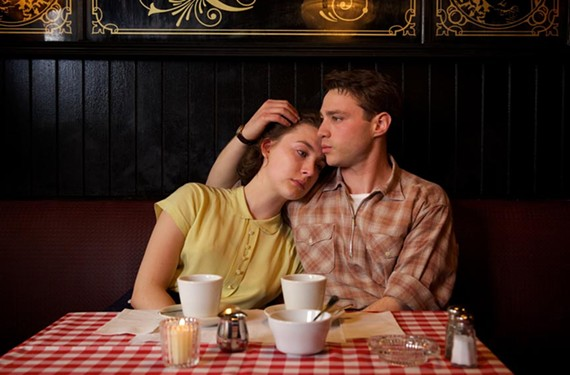 "Saoirse Ronan plays the young Irish protagonist Eilis and Emory Cohen is her Italian love interest, Tony, in the romantic melodrama ""Brooklyn."""