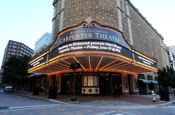 Broken Marquee on Carpenter Theatre to be replaced.