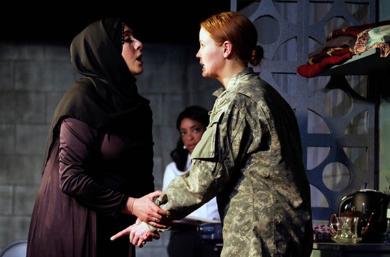 "Sara Heifetz as Adiliah, McLean Jesse as Mabry Hoffman (right) and Katrinah Carol Lewis as Kate Moore (background center) do excellent work in the powerful drama ""The Human Terrain"" about the Iraq War."