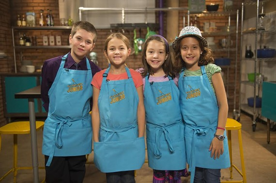 "Two Richmond area girls, Emily Waters of Glen Allen (pictured center left) and Claire Hollingsworth of Moseley (pictured center right), will compete against Michael Lettieri (left) and Rachel Hodorov (right) on next week's episode of the Food Network's ""Chopped Junior."""
