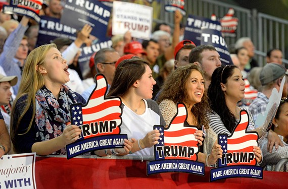 Young supporters attend the Trump rally at the Richmond International Raceway complex in October 2015.