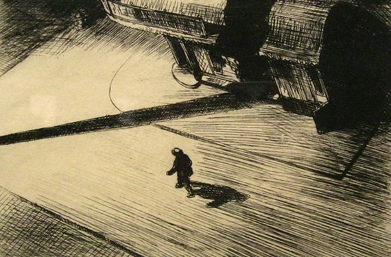 "Realist American painter and printmaker Edward Hopper's etching ""Night Shadows"" (1921) features a single figure walking in the middle of a New York street at night."
