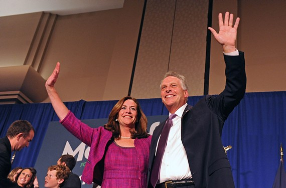 Dorothy Swann McAuliffe joins her husband, Gov.-elect Terry McAuliffe, and her youngest son, Peter, on Election Night in 2013 at a Northern Virginia hotel.