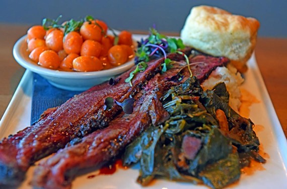 Talley's Meat & Three magically transformed into a well-oiled machine in the new year. A substantial plate of Cheerwine brisket, sweet and crispy along the edges, is served with tarragon carrots, collard greens, mashed potatoes and a biscuit.