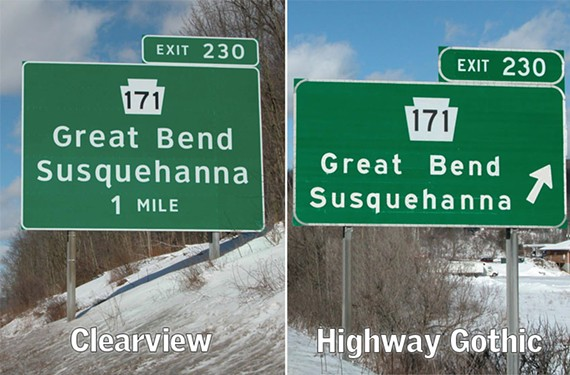 The Clearview typeface, left, was supposed to be better. But the Federal Highway Administration is giving the green light to go back to Highway Gothic, right.