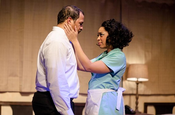 "Jerold E. Solomon stars as Martin Luther King Jr. and Katrinah Carol Lewis as the maid Camae in Cadence Theatre's compelling ""The Mountaintop"" — set during the night before King's assassination."