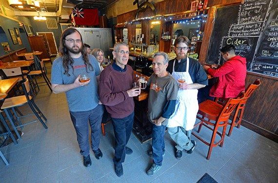 James Talley, pictured here, third from the left, with Harrison Steel, Jim Dickerson and Stephen Henderson, is planning something new for the White Horse Tavern space.