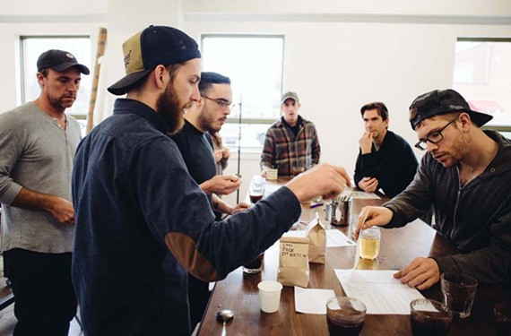 The staff at Blanchard's Coffee Roasting Co.'s conducts cuppings — coffee tastings — regularly at the new space to test and tweak the roast of its beans.