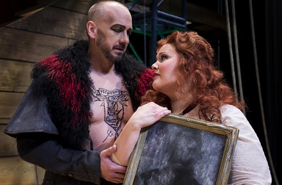 "Wayne Tigges as the Dutchman and Christina Pier as Senta and in Virginia Opera's ""The Flying Dutchman."""