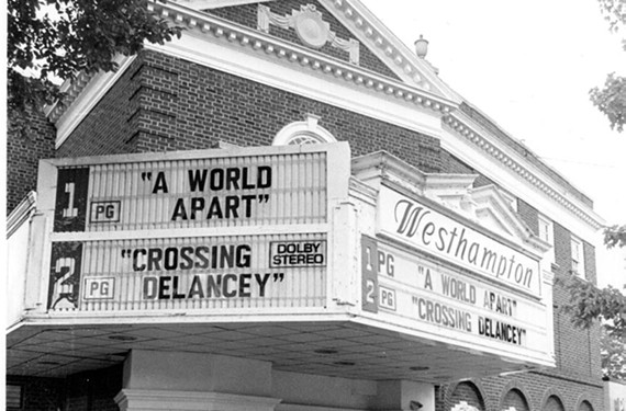 The marquee, as it appeared in 1988, became a weekly bulletin board for many residents looking to plan their entertainment.