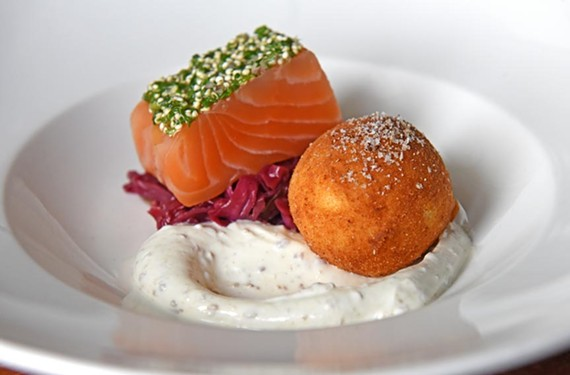 Among the intriguing choices at Dutch & Co. is the perfect egg and salmon appetizer.