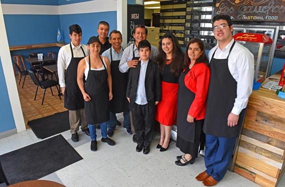 Los Gauchos is a family affair. Left to right: Nelson Ramirez, Marleny Ruiz, Victor Villa, Hector San Martin, Fabian Ramirez, Natan Ramirez, Carla Ramirez, Maria Ramirez and Franco Ramirez.
