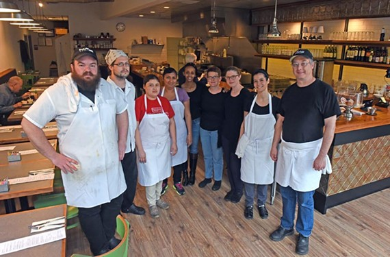 Chef and owner Greg Johnson (far right) moved his much loved restaurant, Citizen, from a small subterranean space to a light and airy storefront on East Main Street.