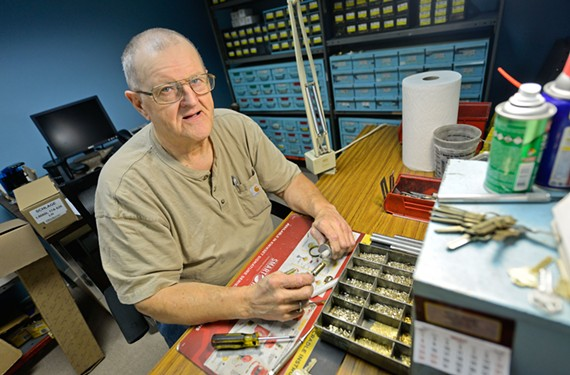 Bill Hall, who worked as a locksmith at Pleasants Hardware for decades, has joined other former employees at Anthony's Decorative Hardware.