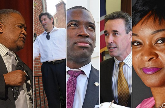 Clockwise from left to right: Candidates Lawrence Williams, Jon Baliles, Levar Stoney, Joe Morrissey and Michelle Mosby.