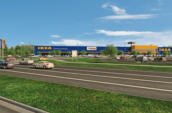 An architectural rendering of the proposed Ikea.