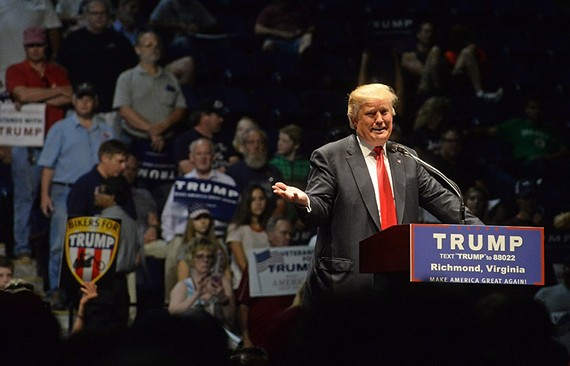 Republican presidential nominee Donald Trump at a campaign rally in Richmond on June 10.